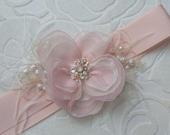 Blush Bridal sash, Bridal sash, Flower Wedding dress belt, Bridal sashes belts, Blush weddings