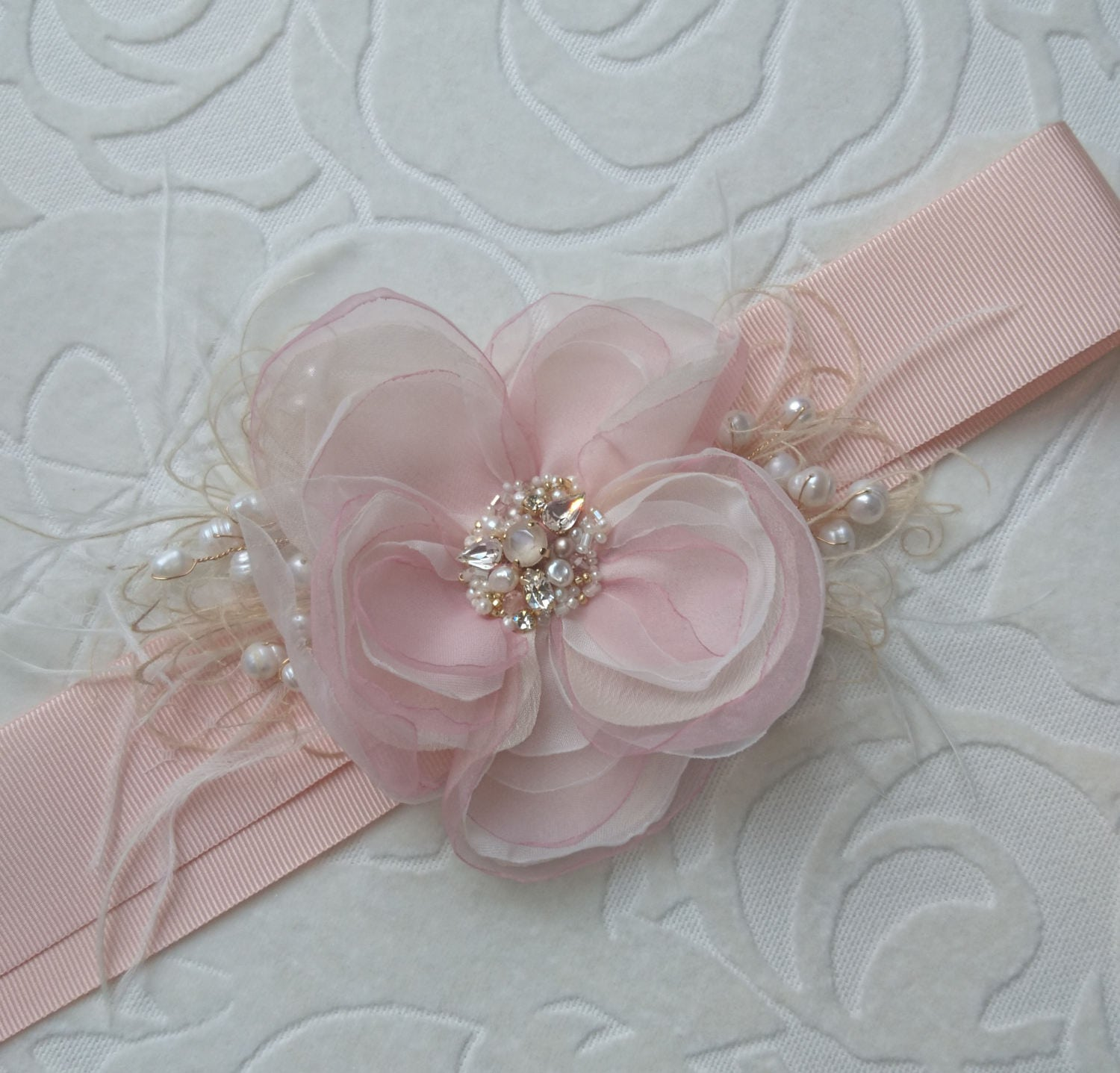 Blush Bridal sash Bridal sash Flower Wedding dress belt