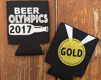 Beer Olympics Can Holders, Olympic Medals, Prizes for olympic party, Gold medal, Can wraps, set of 3