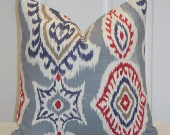 SET of TWO 16 x 16 - Ikat Decorative Pillow Cover - Red Blue Indigo Pillow - Tan pillow - Kilim Pillow