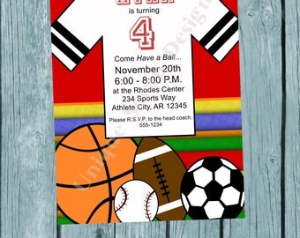 Have a BALL Sports Birthday Party Invitation Style DI2159 DIGITAL File - Printable
