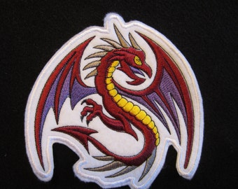 Large Embroidered Winged Dragon Iron On Patch, Iron On Dragon Patch, Winged Dragon Patch, Iron On Patch, Dragon