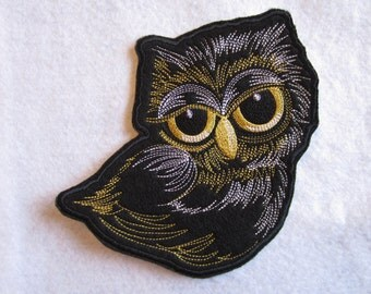 Embroidered Owl Iron On Patch, Owl Patch, Iron On Patch, Owls, Owl Applique, Applique Owl Patch, Iron On Applique Owl