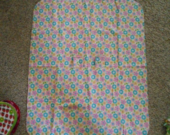 Hem Stitched Infant Car Seat Flannel Blanket - yellow, blue, pink, green