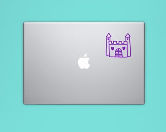 New! - Princess Castle VINYL Decal, Princess Laptop Decal, Illustrated Decal, Computer Decal, Vinyl Sticker