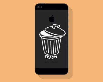 New! - TRASH CAN VINYL Decal, Trash Decal, Illustrated Decal, Phone Decal, Vinyl Sticker