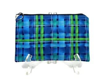 Plaid Zipper Pouch, Blue Green Cosmetic Bag, Pencil Pouch, Accessory Bag, Gadget Case, E-Cig Case, Blue Green Zip Bag, Padded Pouch