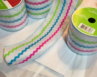 Easter White burlap with pink and blue rick rack stripes 4 inches wide each roll is 25 ft long