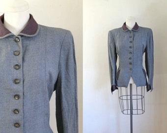 50% OFF...last call // vintage 1940s/50s suit jacket - LADY RENLYN gray blazer / m