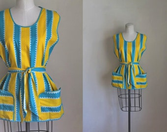 vintage 1940s cobbler apron - SUN in the SKY yellow & blue smock top