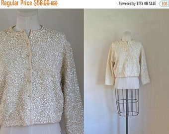 40% OFF anniversary sale vintage 1950s sequin cardigan - SNOW STORM sparkle sweater / M