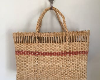 vintage straw purse - CLAY POT natural woven market bag