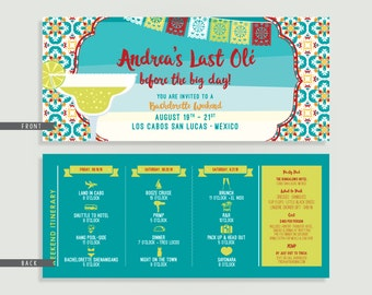 Mexico Bachelorette Invitation with Itinerary - Personalized Printable File or Print Package - Last Ole' Before the Big Day #00193-PI10