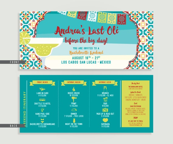 mexico bachelorette invitation with itinerary personalized
