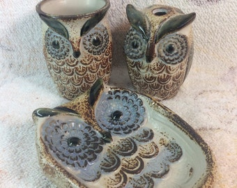 1970s Owl Woodland Bathroom Set - set of 3 Soap Dish, Toothbrush Holder and Cup Ceramic