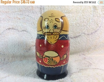 10% OFF Wooden Russian Nesting Doll Man Single Doll Vintage Kitsch Collectible