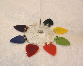 Guitar Pick Wine Charms Set Of 8 - Music Wine Glass Markers - Barware