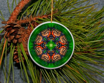 Ornament Christmas All Occasion Ceramic Monarch Butterfly Mandala Sacred Geometry Kaleidoscope Boho Chic New Age Unique Monarch Melody