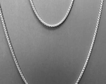 THE FINEST SILVER- on the market - 935 Argentium® Silver 2.6mm rounded Box Chain, w/lobster clasp -choose your length...Bracelet or Necklace