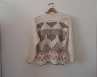 SWEATER SALE handmade size small desert pastel pullover with mock neck