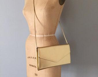 SALE...gold shimmer clutch | 1980s golden envelope purse