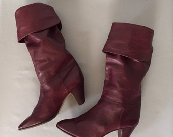 30% OFF WINTER SALE... Peter Kaiser merlot red leather boot | slouch foldover boots | 10