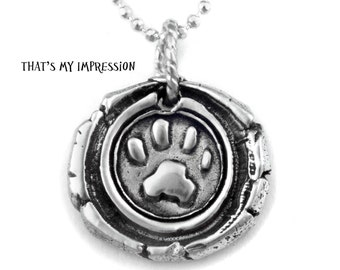Custom Sterling Silver Paw Print Wax Seal Monogram Pendant for Pet Lovers- Memorial Jewelry- Wax Seal with Rustic Feel- OOAK