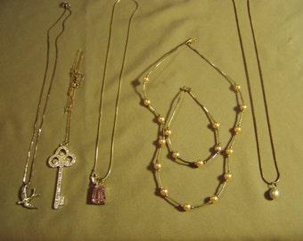 Vintage Lot Sterling Silver 4 Pendant Necklace Faux Pearl Necklace Bracelet Set Bluebird Key Real Pearl 9106