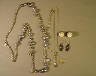 Vintage Robert Rose Signed 2 Necklaces 2 Pairs Earrings 9269
