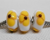 Handmade Lampwork European Style Charm Bead White with Yellow Flowers Set of 3 Beads
