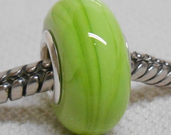 Light Green Color Lampwork Bead Silver Cored Bead Fits European Charm Bracelets