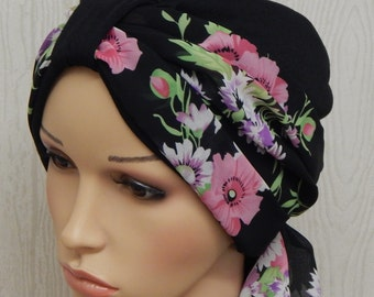 Black cancer patient turbans with chiffon headscarf, two piece set, chemotherapy hat, hair loss turban, chemo bonnet, women's turban, L size