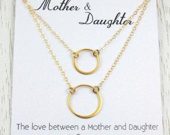 Holiday SALE Mother Daughter Necklace Set, Eternity Circle Necklace, Mother Daughter Birthday, Gift for Mom, Bridal Gift,  24K Gold Link,...