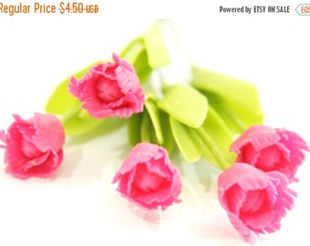 Miniature Polymer Clay Flowers Supplies Tulip with Leaves 6 stems