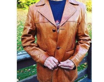Vintage Brown Leather Jacket Men's Blazer Coat Button Up Lambskin William Barry Casual Guys Fashion Style 70s Retro Size Large 42 Pockets