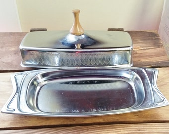 Vintage Butter Dish Hellerware Danish Modern Chromium Atomic Space Age Silver w Etched Leaves Teak Wood Top 50's 60's Mid Century Kitchen