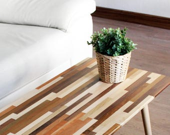 Mixed Wood Coffee Table - Modern Furniture Mid Century Eames Style Hardwood Design