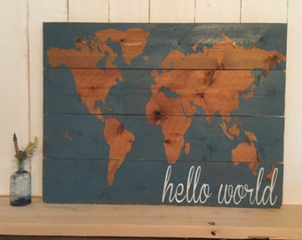 Hello World Nursery Decor - Map - Nursery Wall Art- Wooden Map - Rustic World Map - Wooden Nursery Map - Map Wall Hanging - Gift for Baby