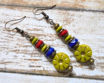 Chartreuse, Blue, Red and Brass Boho Flower Earrings (3358)