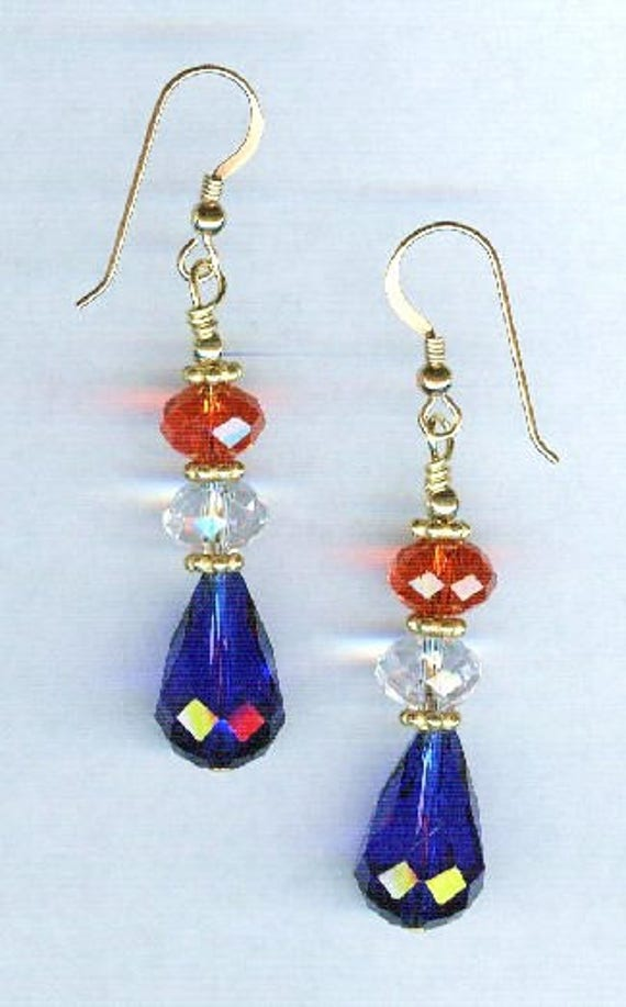 Patriotic Red White & Blue Faceted Crystal Bead Earrings 3