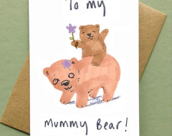 Mothers Day Card Mummy Bear Card Mothering Sunday Birthday card For Mum