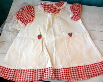 Vintage Excellent Patti Playpal by Ideal 1981 Clean Original Doll Dress with Ric Rac and Strawberries Gingham Red Checked