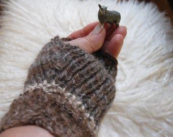 Fingerless Mittens. Handspun Sussex Alpaca yarns. Multi Shades Striped Ribbed Hand Knit. Fall, Winter.  Warm Women's Fashion Accessory.