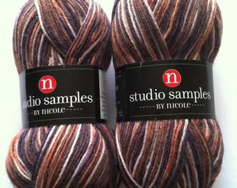 Two Skeins of Studio Samples by Nicole Sock Yarn, Multicolor Sock Yarn, Fingering Wool Acrylic Blend Sock Yarn, Shawl Yarn, Brown, Copper