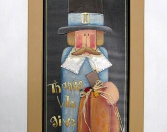 Pilgrim with Orange Pumpkin, Give Thanks Sign, Fall or Autumn Sign, Folk Art Pilgrim,Reclaimed Wood Frame, Hand Painted on Black Screen