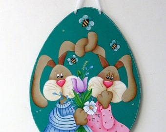 Spring Bunnies, Love Bunnies, Bunnies with Flowers, Folk Art Bunnies, Easter Sign, Large Wood Egg, Tole or Hand Painted, Hanging Easter Art