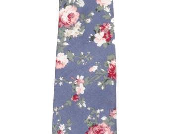 "Men's Slate Blue Floral Tie (2"" Wide) ~ Floral Necktie ~ Wedding / Graduation / Prom / Holidays"