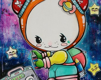 Ellabunny ( Ella the Space Bunny)  Satin paper Print 11x14 Lowbrow Cute Art Space Bunny With Boombox Little Girls Room Science
