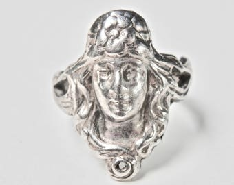 Art Nouveau Revival Sterling Silver Ring Size 6.25 Ring Vintage Lady Gibson Girl Vintage Ring Silver Cameo Ring 925