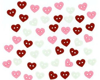 Jesse James Button Valentine's Collection Red Pink White Hearts Micro Hearts Buttons